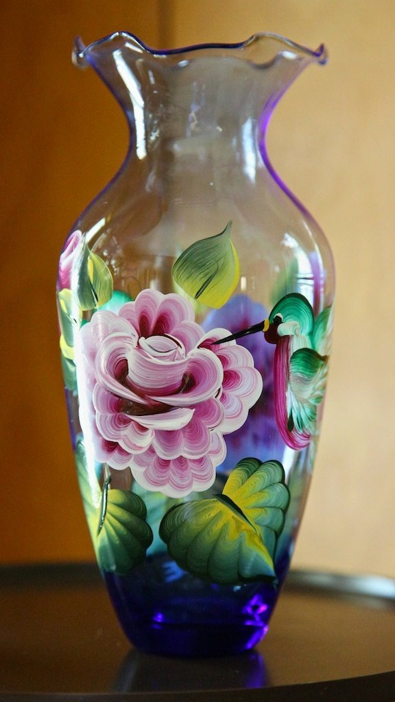 Picture Of Flowers to Paint Elegant Hand Painted Glass Vase with Roses and Hummingbirds