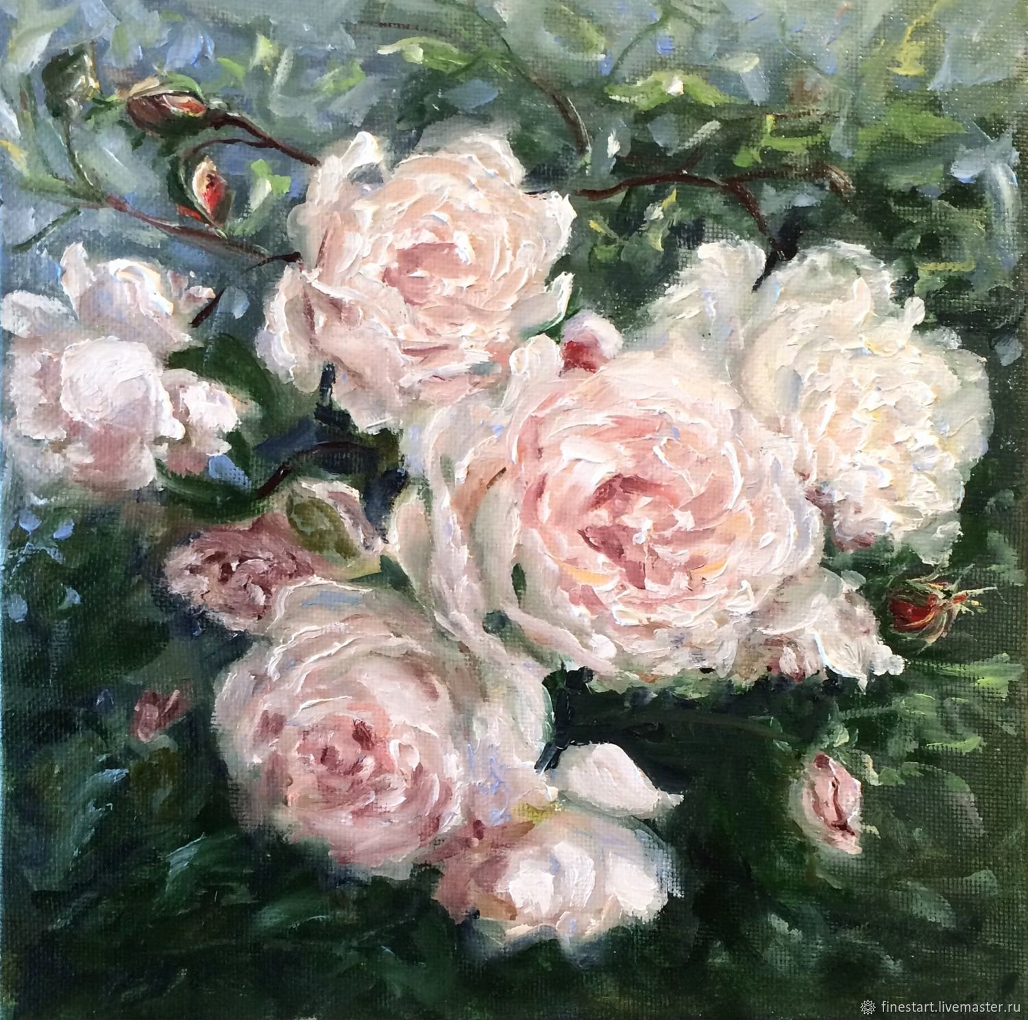 Picture Of Flowers to Paint Elegant Oil Painting White Rose Painting – заказать на Ярмарке