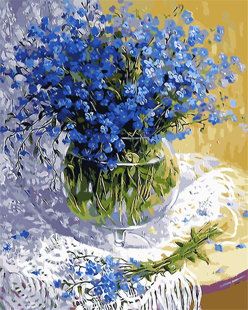 Picture Of Flowers to Paint Inspirational Blue Color Flowers Picture Diy Digital Oil Painting Flower