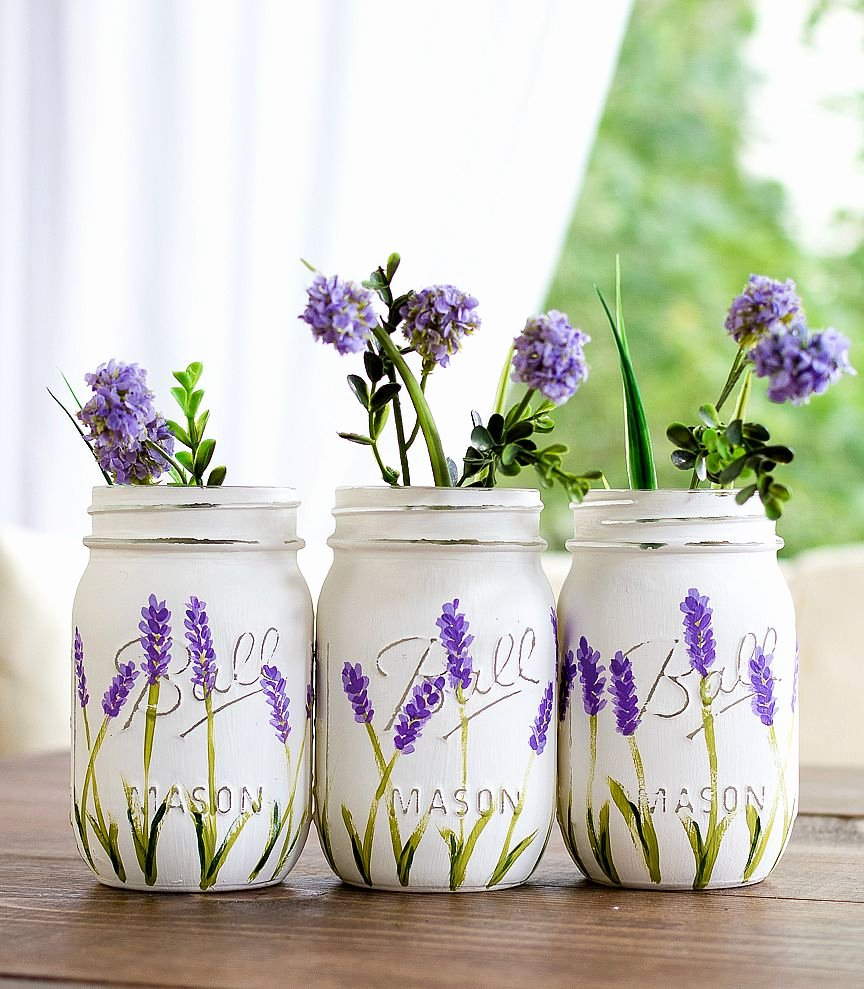 Picture Of Flowers to Paint New Lavender Flower Painted Mason Jars