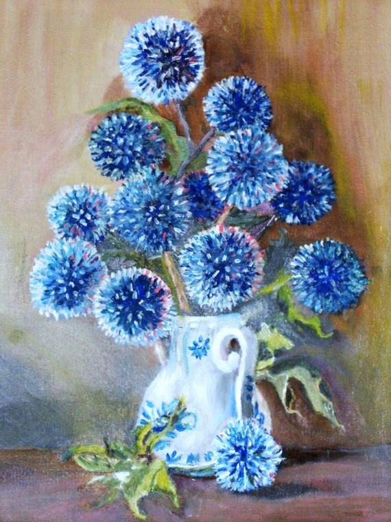 Picture Of Flowers to Paint Unique Blue Flowers Oil Painting Puff Balls Flower Picture Framed Art