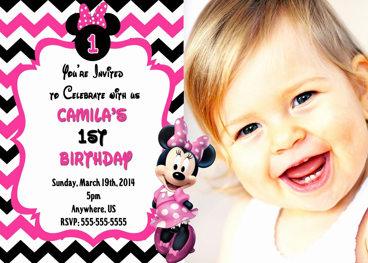 Pink Minnie Mouse Invitations Awesome Chevron Minnie Mouse Birthday Invitation Hot Pink