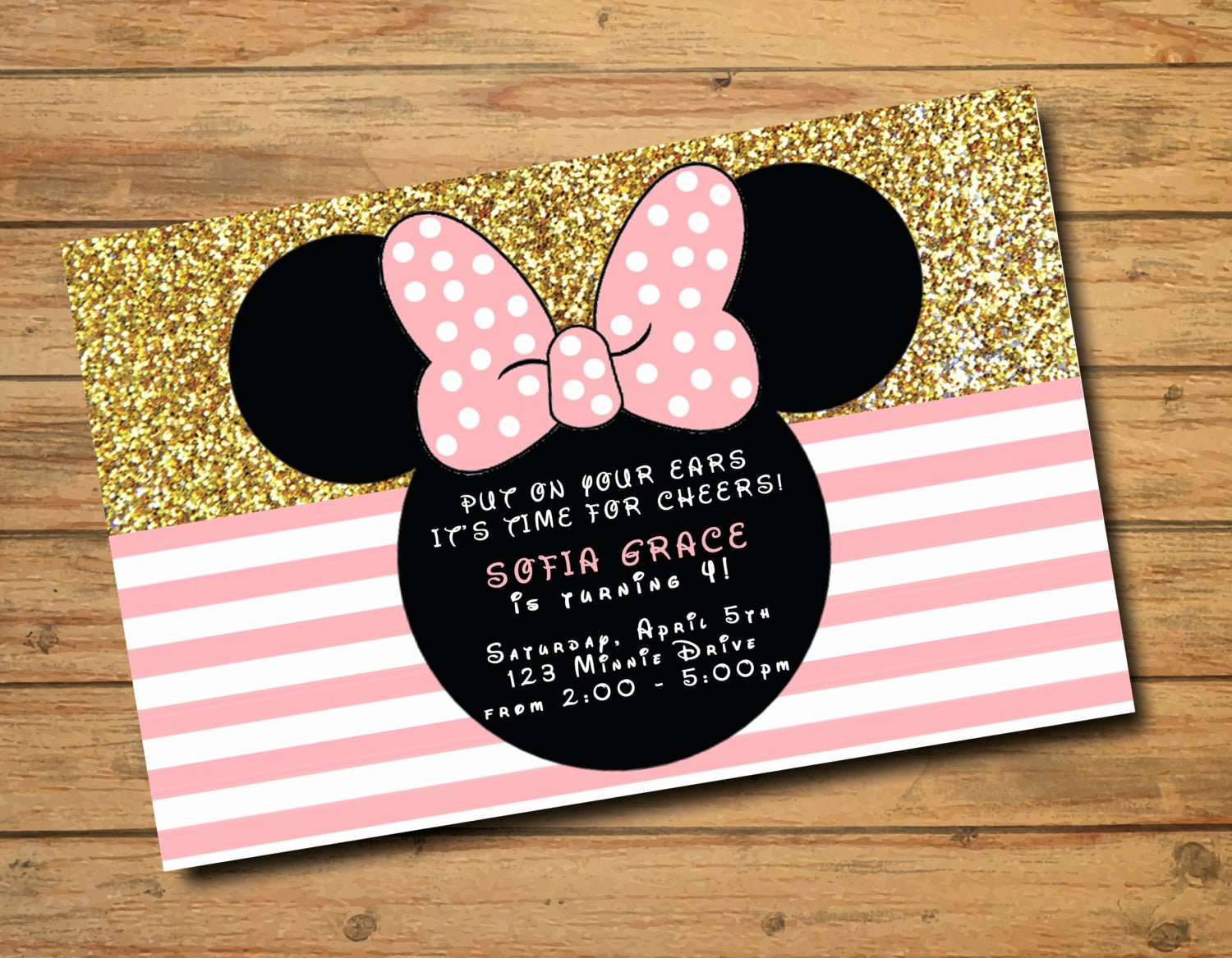 Pink Minnie Mouse Invitations Awesome Minnie Mouse Birthday Invitations Polka Dots Gold and Pink