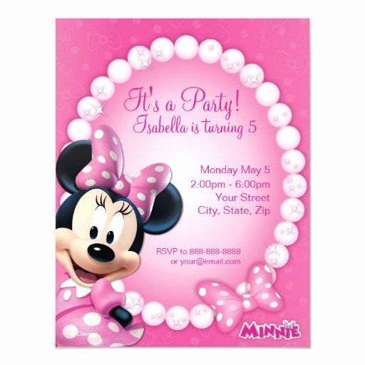 Pink Minnie Mouse Invitations Awesome Minnie Pink and White Birthday Invitation