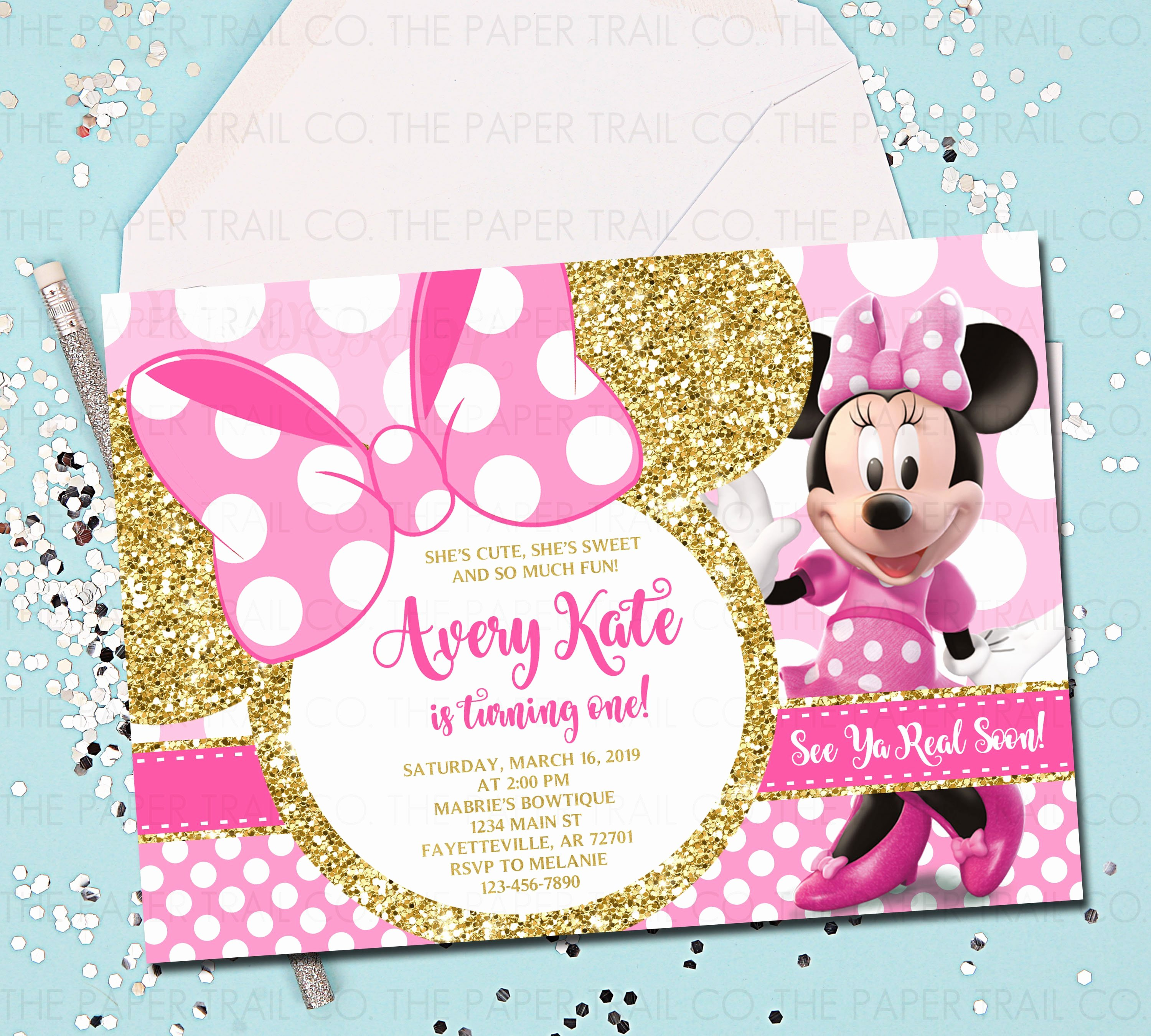 Pink Minnie Mouse Invitations Best Of Minnie Mouse 1st Birthday Invitation Pink and Gold Minnie
