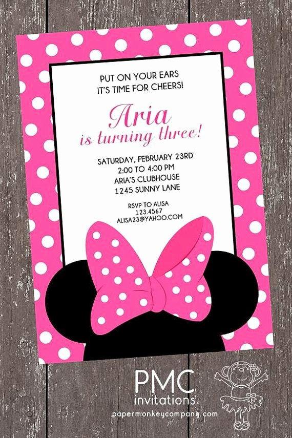 Pink Minnie Mouse Invitations Elegant Pink and White Dots Minnie Mouse Birthday Invitation 1