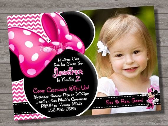 Pink Minnie Mouse Invitations Elegant Pink Minnie Mouse Invitations