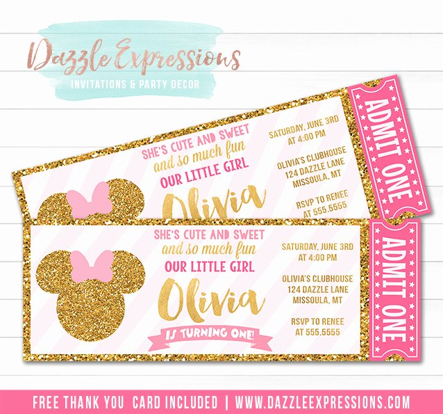 Pink Minnie Mouse Invitations Elegant Printable Pink and Gold Minnie Mouse Inspired Ticket