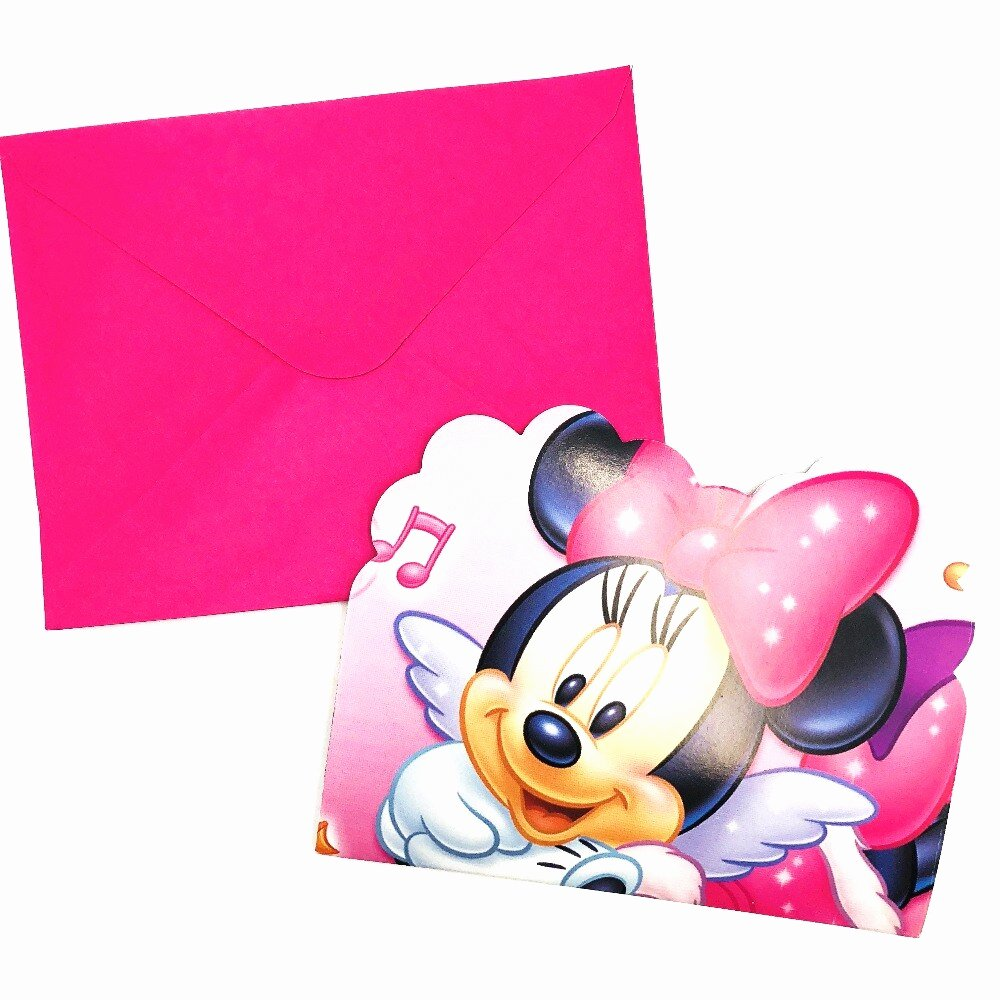 Pink Minnie Mouse Invitations Fresh 6pcs Pink Minnie Mouse Birthday Party Invitations Ideas