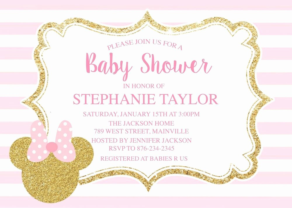 Pink Minnie Mouse Invitations Fresh Minnie Mouse Pink Gold Baby Shower Invitation