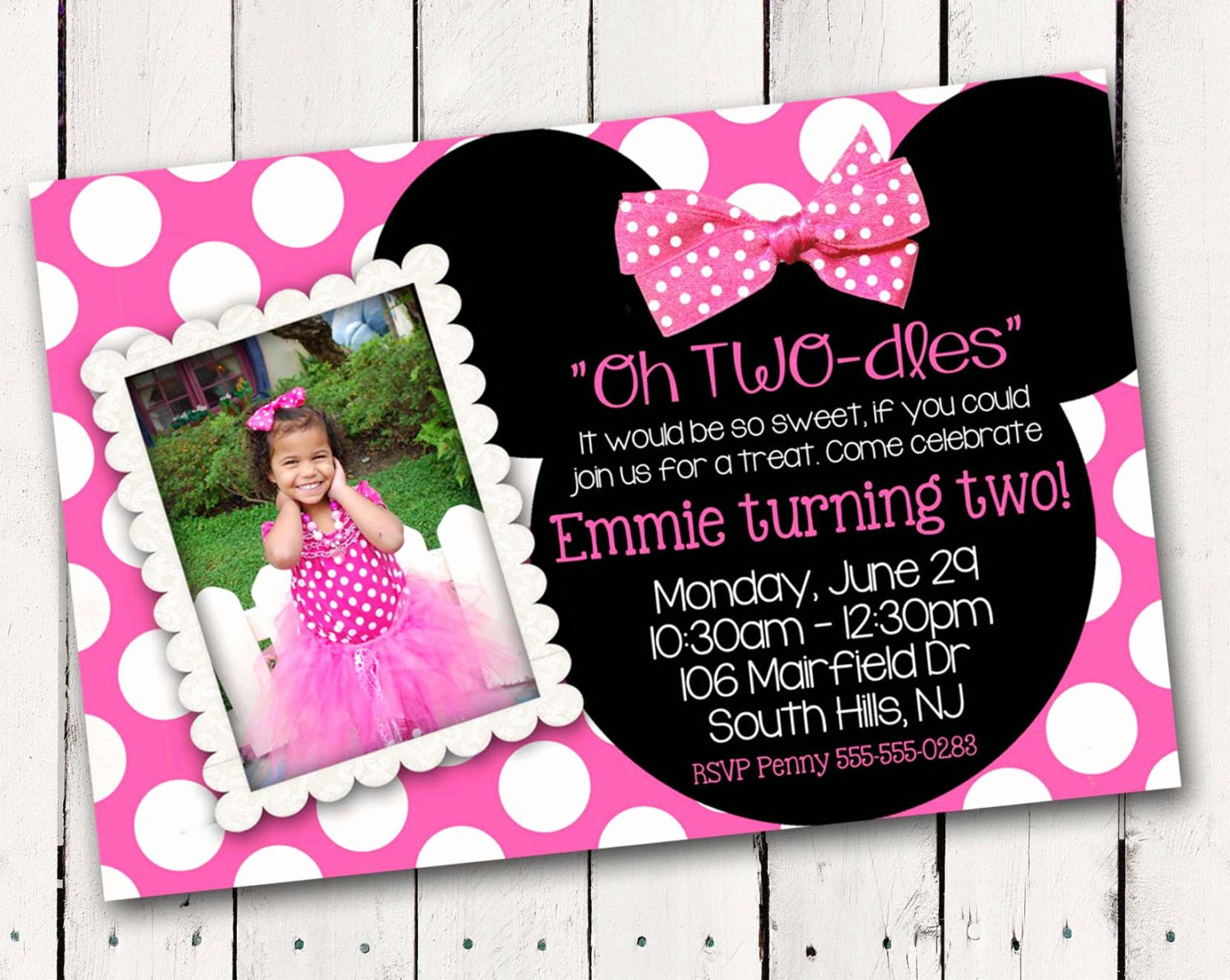 Pink Minnie Mouse Invitations Fresh Pink Minnie Mouse Custom Photo Birthday Invitations