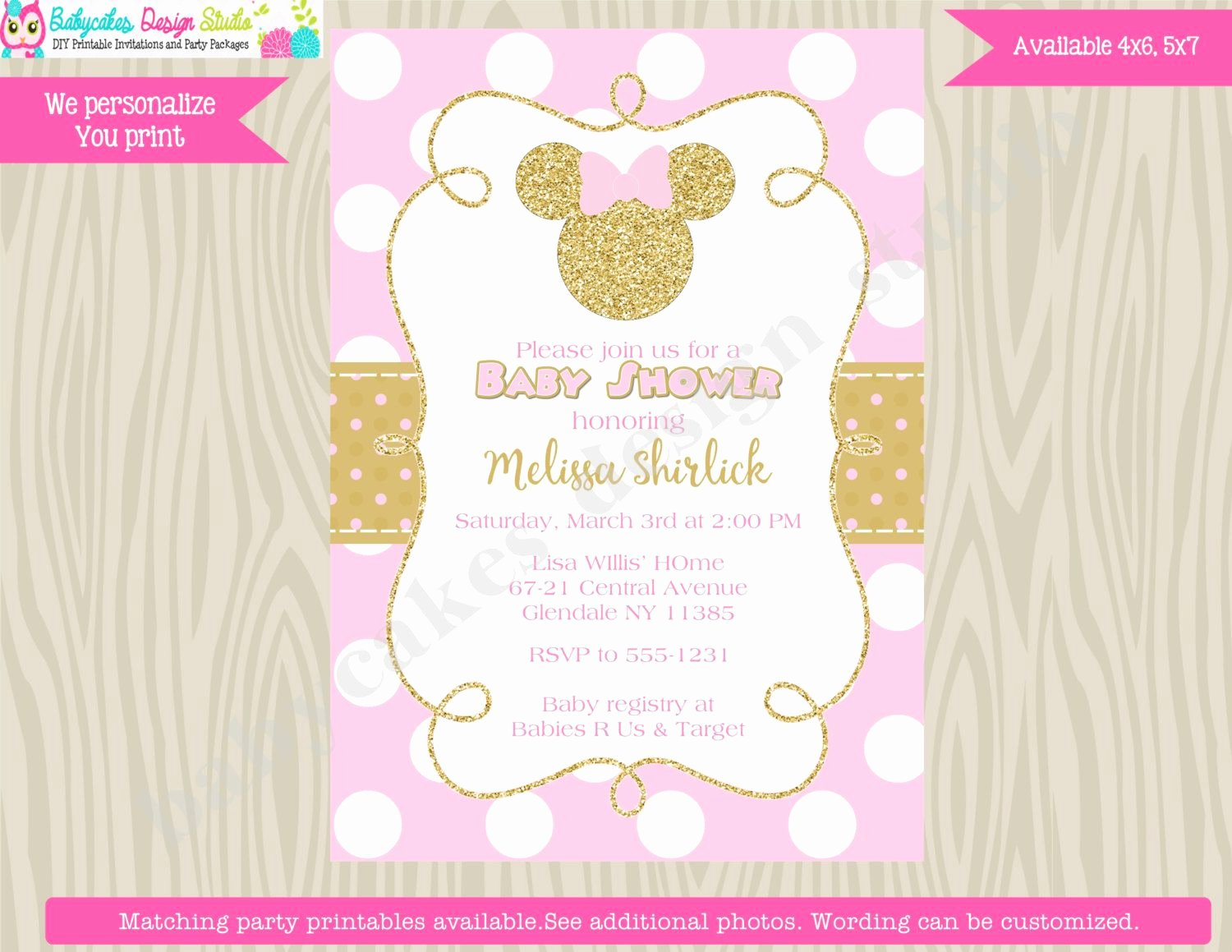 Pink Minnie Mouse Invitations Inspirational Minnie Mouse Baby Shower Invitation Invite Pink and Gold