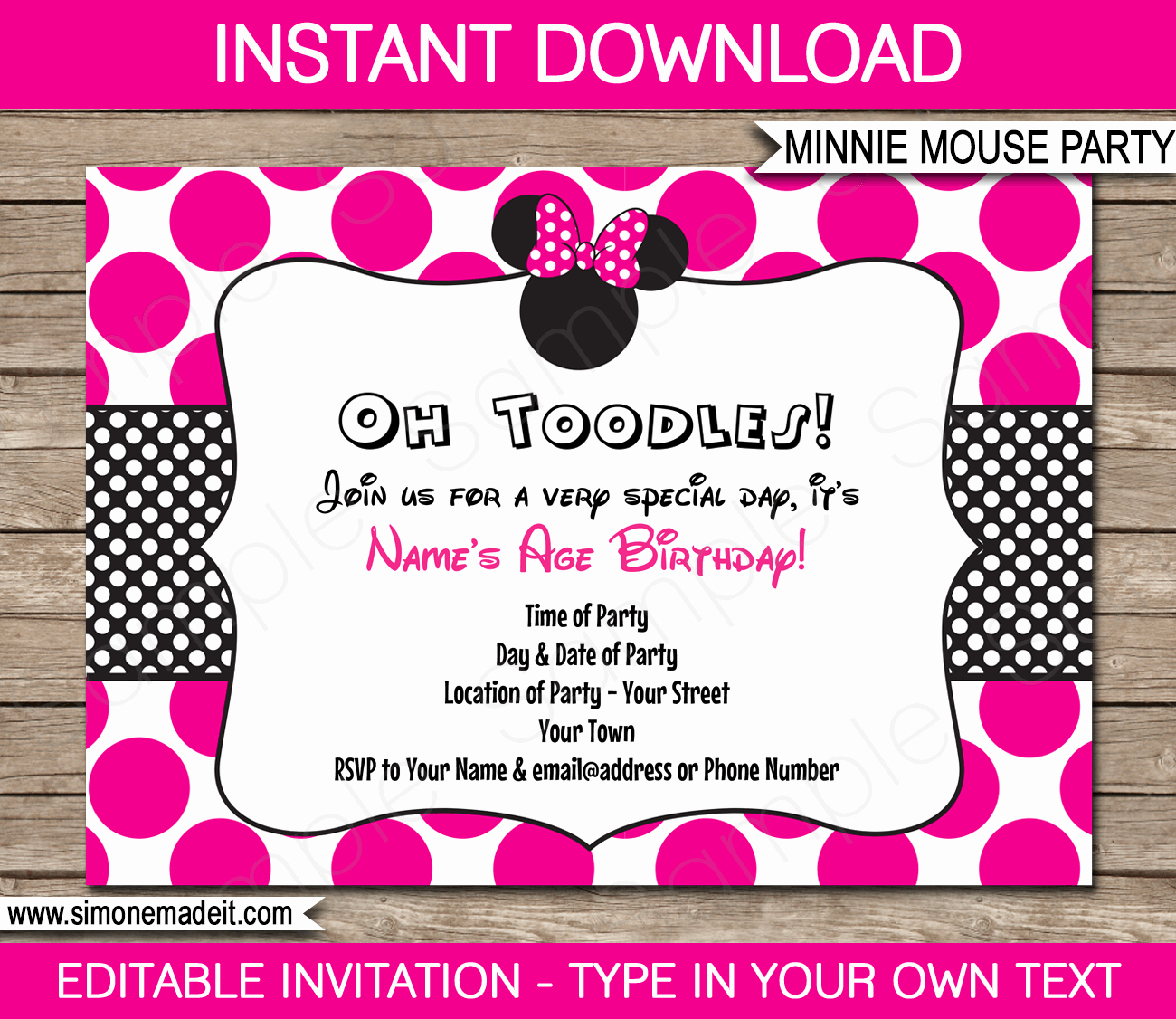 Pink Minnie Mouse Invitations Lovely Minnie Mouse Party Printables Invitations & Decorations