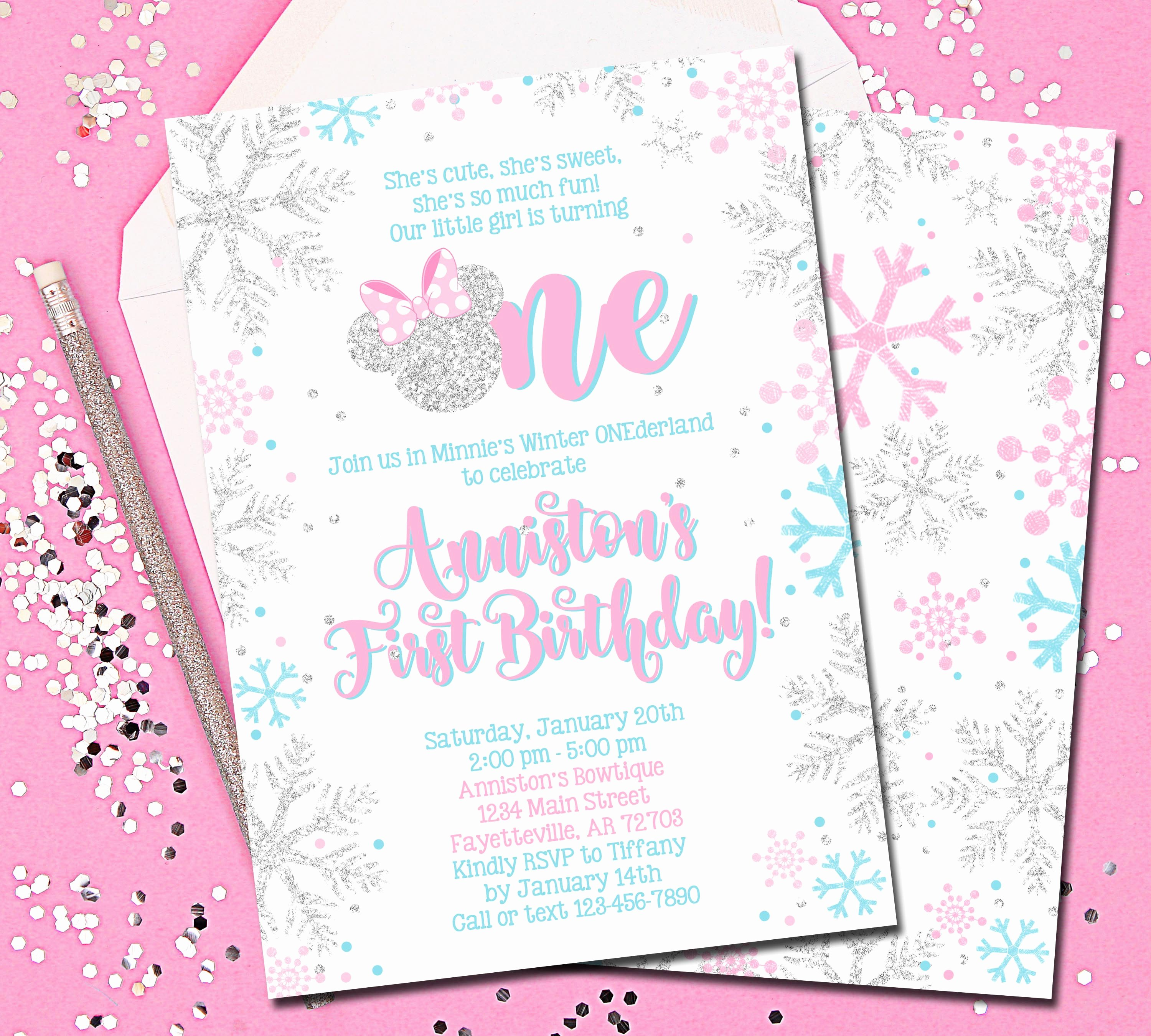 Pink Minnie Mouse Invitations New Minnie Mouse Invitation Pink and Silver Winter Onederland