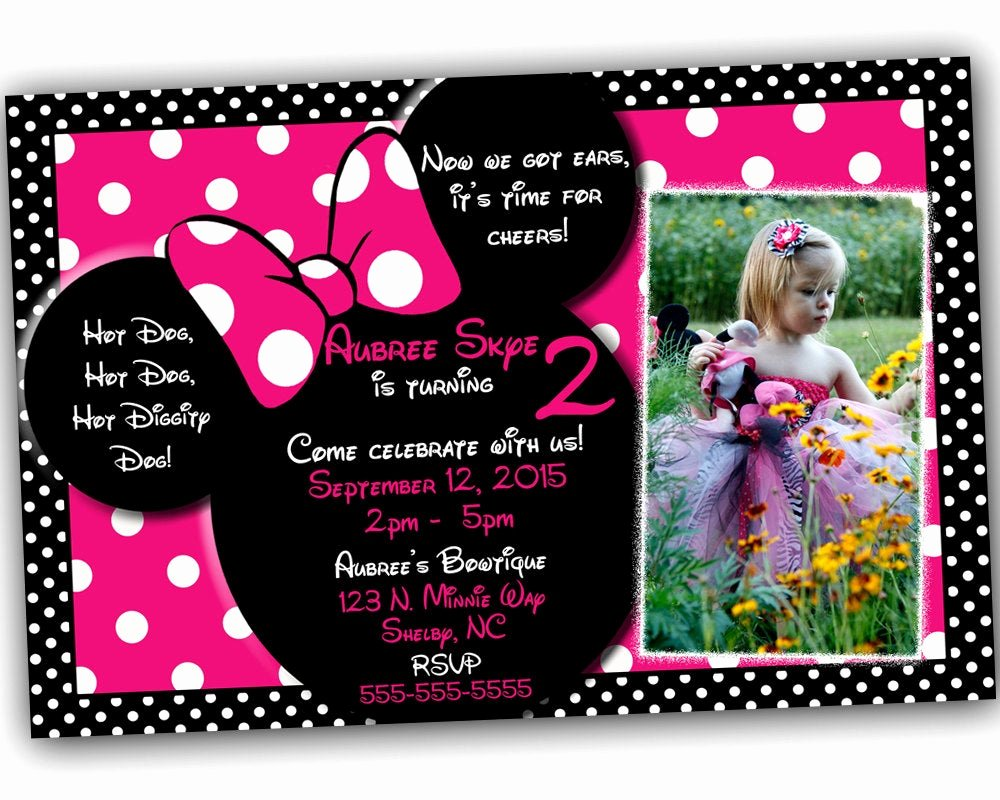 Pink Minnie Mouse Invitations New Sale Minnie Mouse Invitation Minnie Mouse Birthday Pink