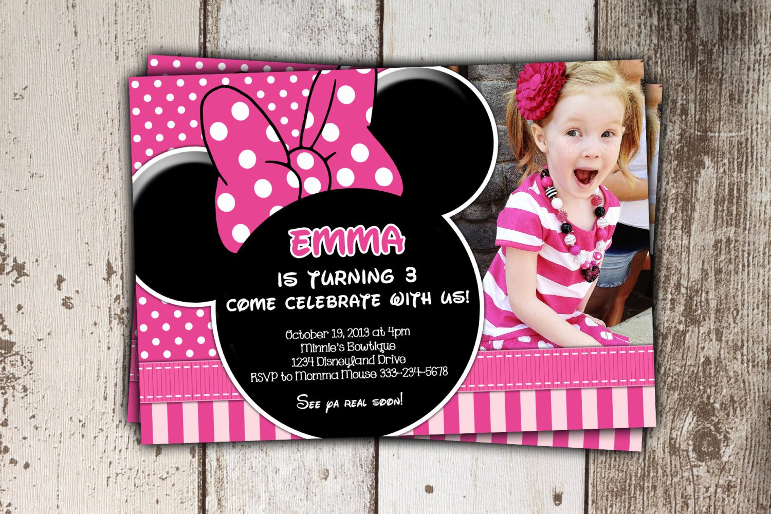 Pink Minnie Mouse Invitations New Sale Pink Minnie Mouse Invitations Birthday Invitations