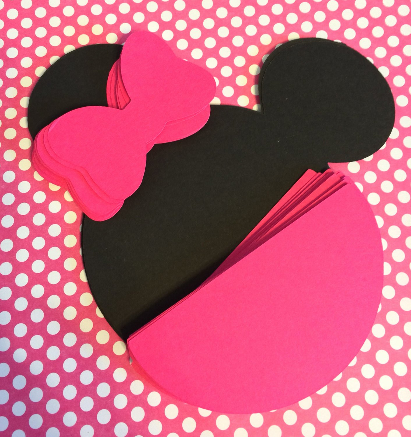 Pink Minnie Mouse Invitations Unique 10 Diy Hot Pink Minnie Mouse Die Cut Invitations