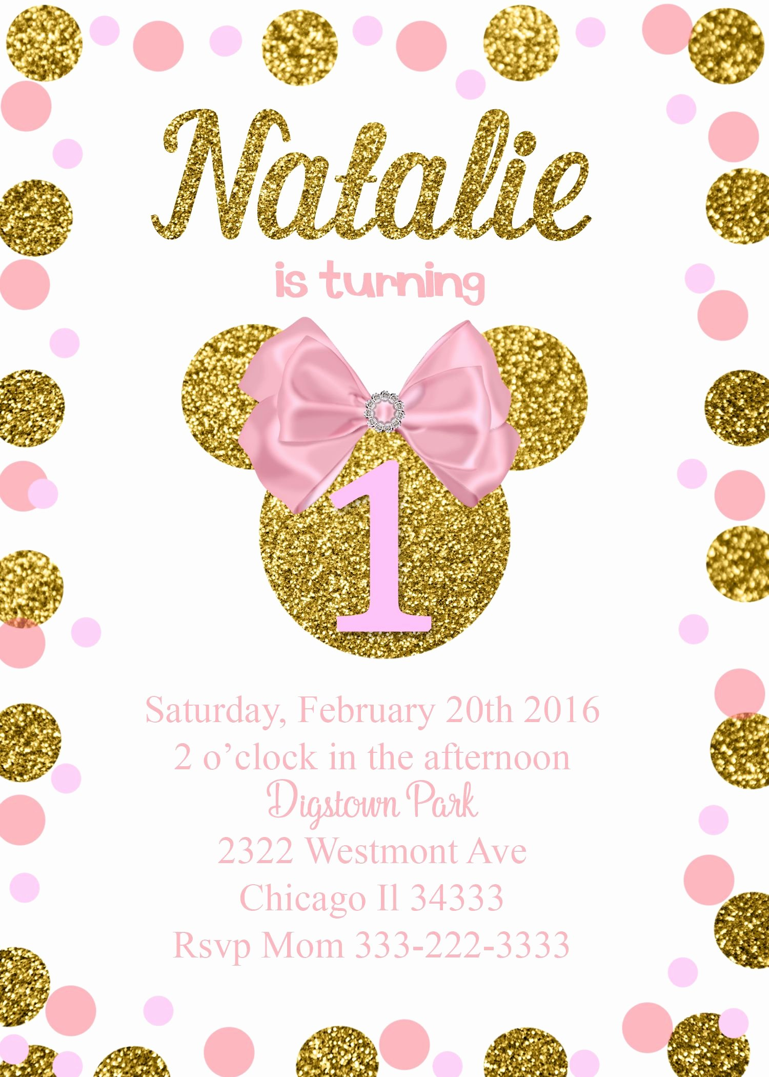 Pink Minnie Mouse Invitations Unique Minnie Mouse Glitter Birthday Invitation Pink Bow