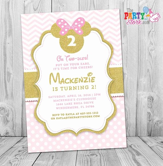 Pink Minnie Mouse Invitations Unique Pink and Gold Minnie Mouse Invitation Pink and Gold Minnie