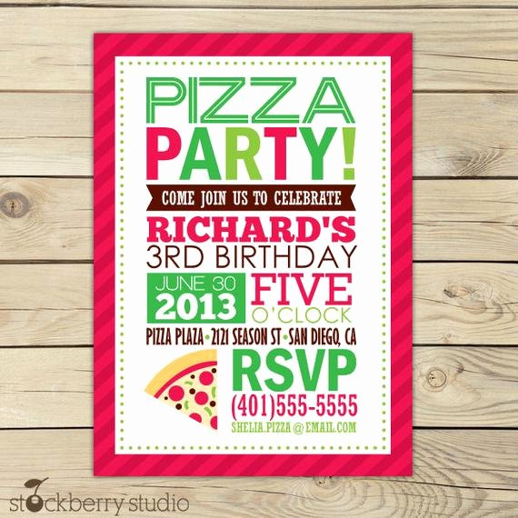 Pizza Party Invitation Template Word Beautiful Pizza Birthday Invitation Printable by Stockberrystudio On