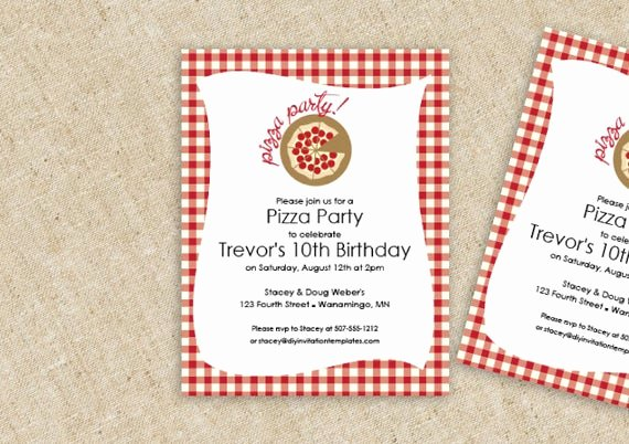 Pizza Party Invitation Template Word Beautiful Pizza Birthday Party Invitation Template by Loveandpartypaper