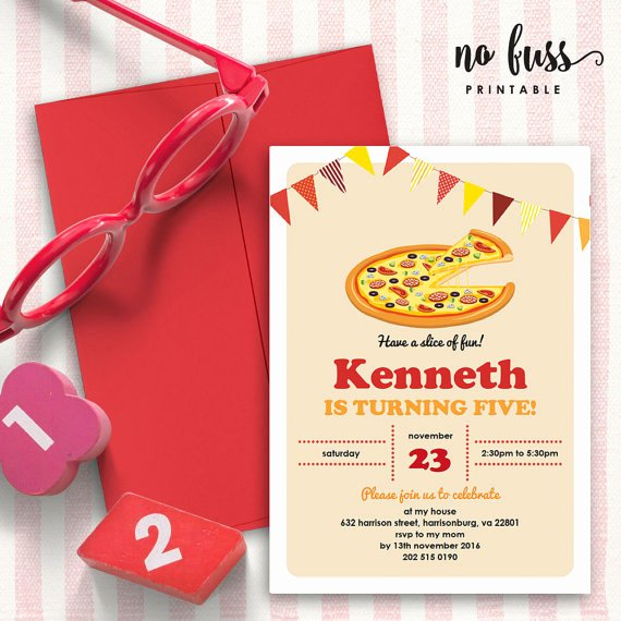 Pizza Party Invitation Template Word Beautiful Pizza Party Invitation 5x7 Editable Pdf File Instant