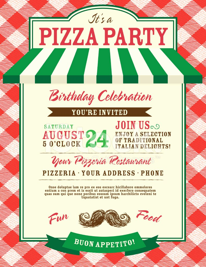 Pizza Party Invitation Template Word Luxury Pizza and Birthday Party Invitation Design Template Stock