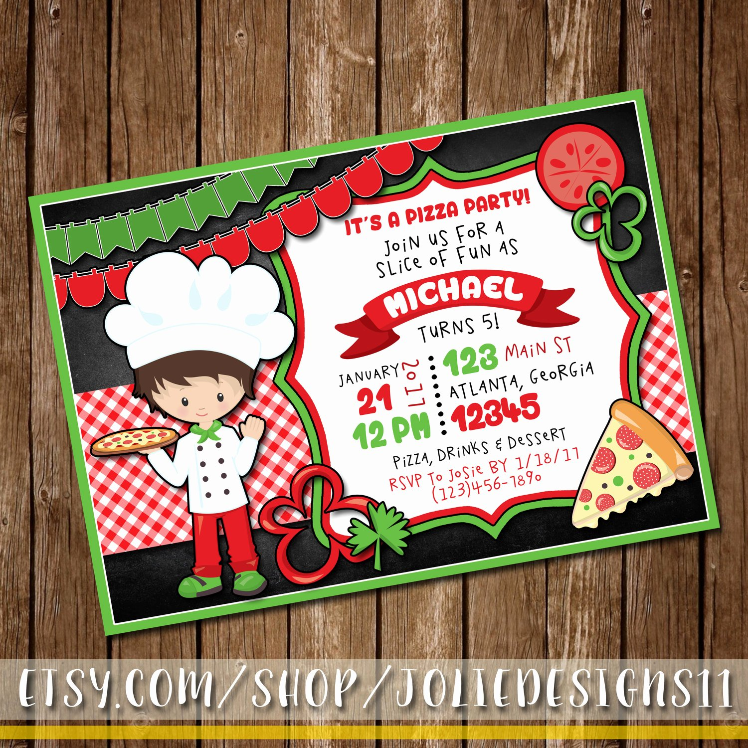 Pizza Party Invitation Template Word New Pizza Party Invitation Girl or Boy S Pizza Birthday