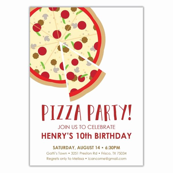 Pizza Party Invites Free Printable Fresh Pizza Party Birthday Invitation Brown Paper Studios