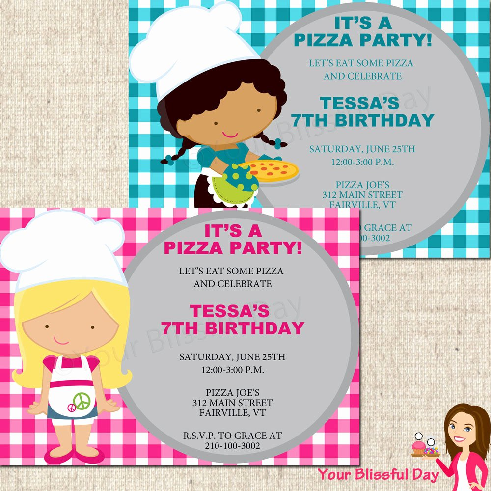 Pizza Party Invites Free Printable Fresh Printable Girl Pizza Party Invitation Character Of Your