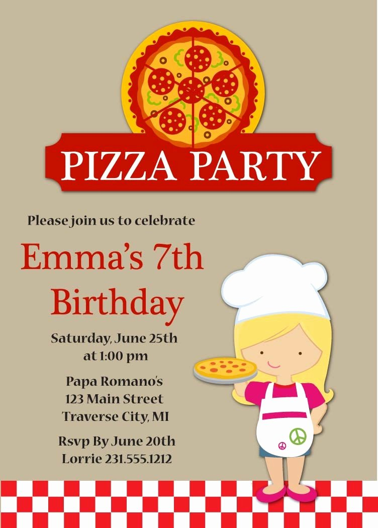 Pizza Party Invites Free Printable Luxury Pizza Party Birthday Invitation Kids Pizza Party Invitation