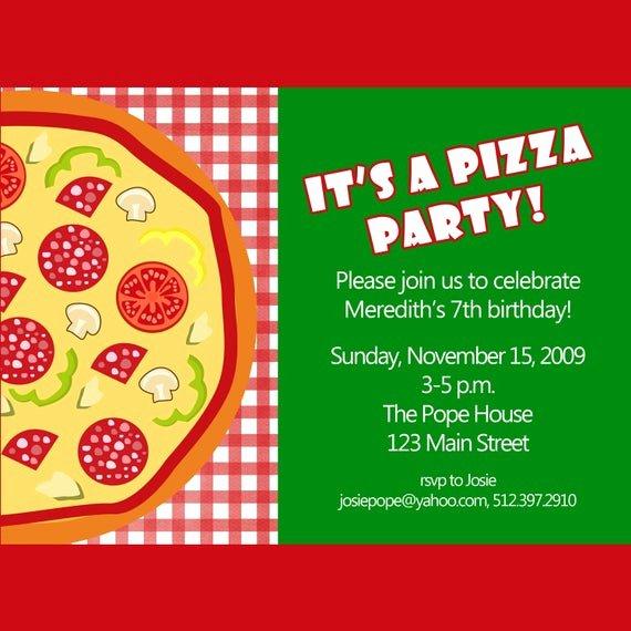 Pizza Party Invites Free Printable Luxury Pizza Party Invitation Printable Invitation by Cardsbycarolyn