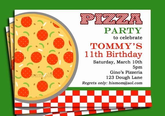 Pizza Party Invites Free Printable Luxury Pizza Party Invitation Printable or Printed with Free Shipping