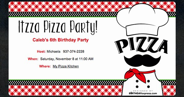 Pizza Party Invites Free Printable New Little Chef Pizza Party Evite
