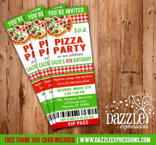 Pizza Party Invites Free Printable Unique Printable Kids Pizza Party Ticket Birthday Invitation