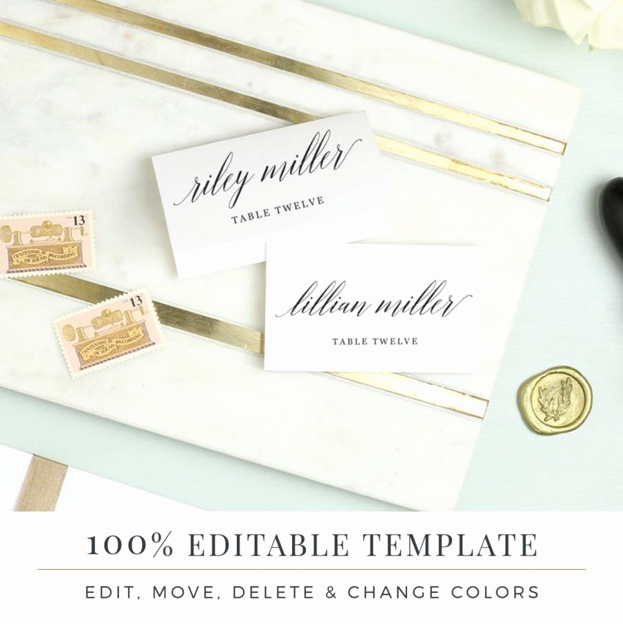Place Card Templates for Mac Beautiful Wedding Place Card Template Printable Escort Cards