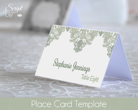 Place Card Templates for Mac Fresh Sage Green Place Name Cards Template Easy to Edit Print at