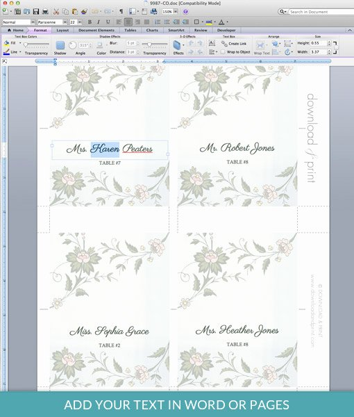 Place Card Templates for Mac Unique Watercolor Flowers Place Card Template – Download & Print