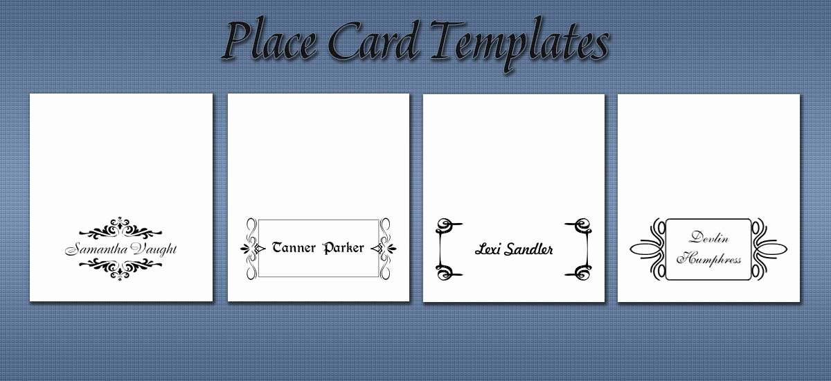 Place Card Templates for Word Elegant Free Place Card Templates