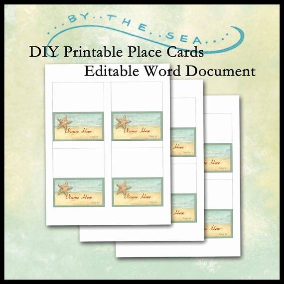 Place Card Templates for Word Inspirational Diy Printable Place Card Template by the Sea Beach Starfish