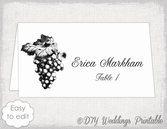 Place Card Templates for Word Inspirational Place Card Template Grapes Name Card Templates