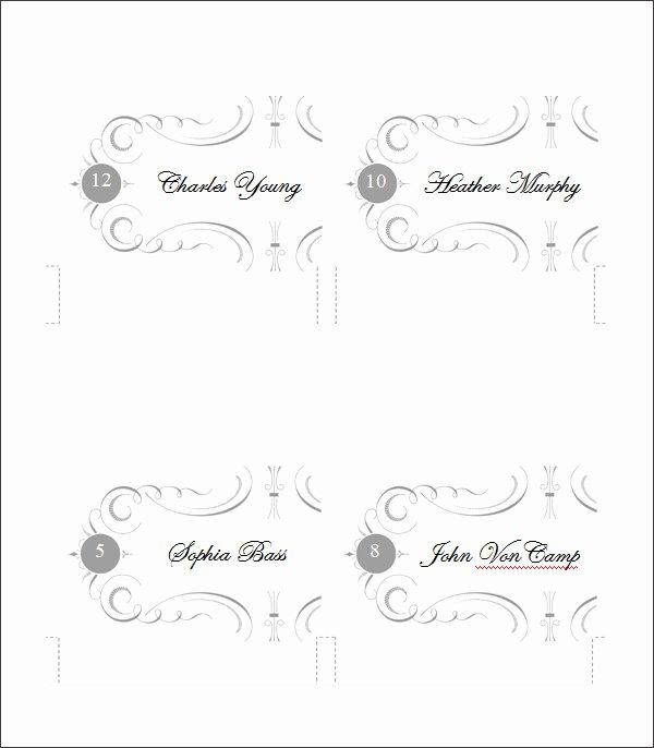 Place Card Templates for Word Luxury Printable Place Cards Template