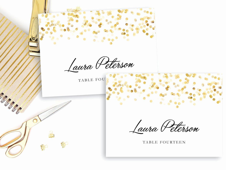 Place Card Templates Free Elegant Printable Place Card Template Gold Confetti Place Cards