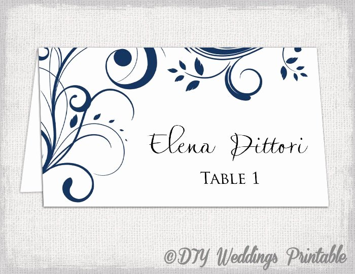 Place Card Templates Free Inspirational Place Card Template Navy Blue Scroll Name Cards