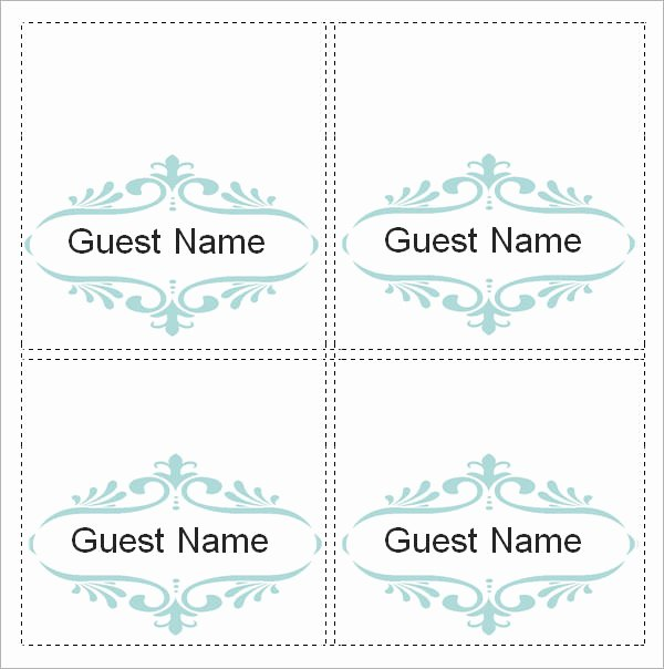 Place Card Templates Free Inspirational Sample Place Card Template 6 Free Documents Download In
