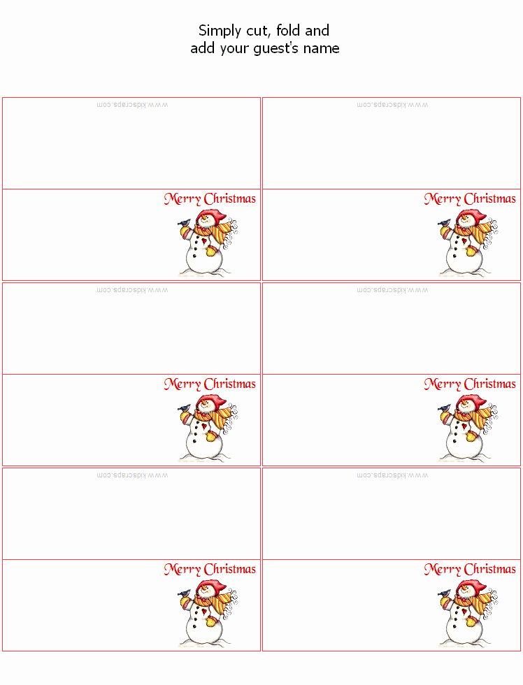 Place Cards Template for Word Best Of Free Christmas Place Card Templates