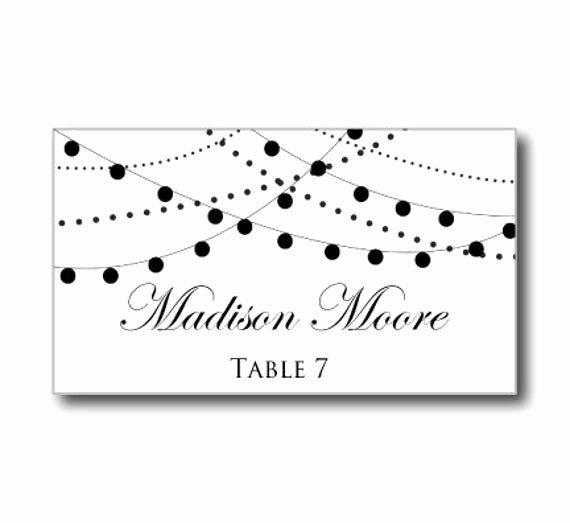 Place Cards Template for Word Elegant Printable Wedding Place Card Template String Lights by
