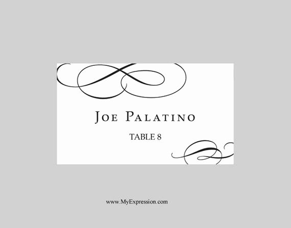 Place Cards Template for Word Elegant Wedding Place Cards Flat Template Calligraphic Flourish