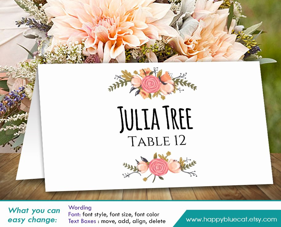 Place Cards Template for Word Fresh Diy Printable Wedding Place Card Template Instant Download