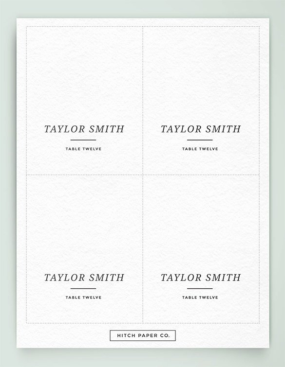 Place Cards Template Free Elegant Name Card Template 15 Free Sample Example format